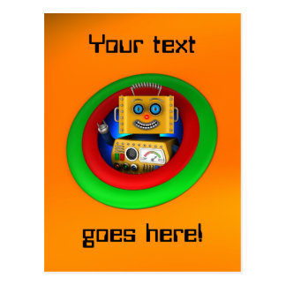 Cute yellow vintage toy robot postcard
