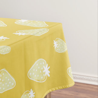 CUTE YELLOW WHIT WATERCOLOUR STRAWBERRIES MONOGRAM TABLECLOTH