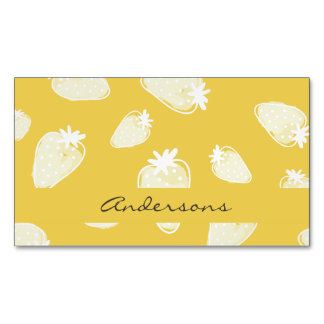 CUTE YELLOW WHITE WATERCOLOR STRAWBERRIES MONOGRAM BUSINESS CARD MAGNET