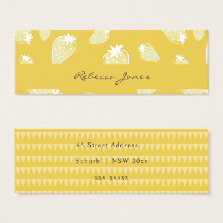 CUTE YELLOW WHITE WATERCOLOR STRAWBERRIES MONOGRAM MINI BUSINESS CARD
