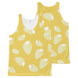 CUTE YELLOW WHITE WATERCOLOUR STRAWBERRIES All-Over-Print TANK TOP