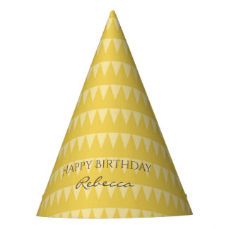 CUTE YELLOW WHITE WATERCOLOUR TRIANGLE BIRTHDAY PARTY HAT
