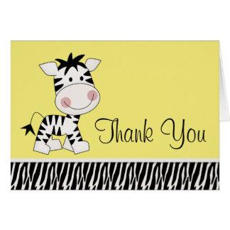 Cute Yellow Zebra Thank You Cards