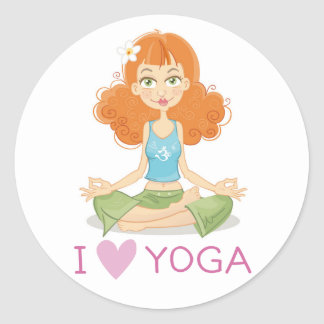 Cute Yoga Girl Doing Lotus Pose Stickers