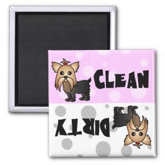 Cute Yorkie Clean / Dirty Dishwasher Magnet