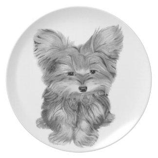 Cute Yorkie Dog Art Plate