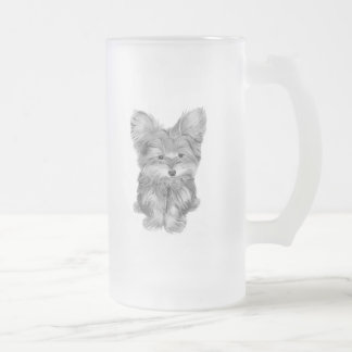 Cute Yorkie Dog Frosted Glass Mug