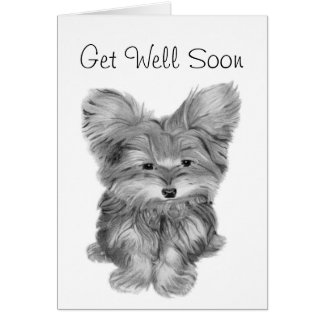 Cute Yorkie Dog Thank you and Get Well Greeting ca Greeting Card