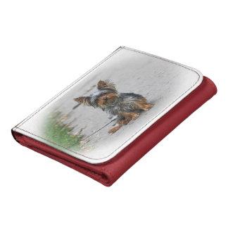 Cute Yorkie Leather Tri-fold Wallet