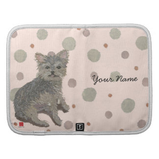 Cute Yorkie Personalized Pink Folio Planner