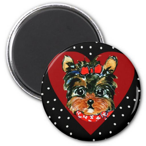 Cute Yorkie Poo 2 Inch Round Magnet