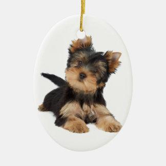 Cute yorkie puppy ceramic ornament
