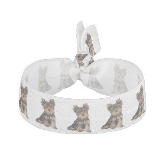 Cute yorkie puppy ribbon hair tie