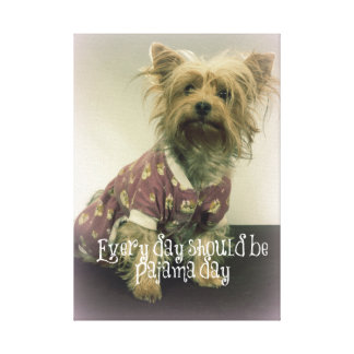 Cute Yorkie with Quote Canvas Print