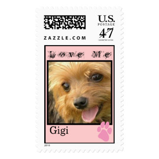 CUTE YORKIES (GIGI) LOVE ME (CUSTOMIZABLE NAME) POSTAGE