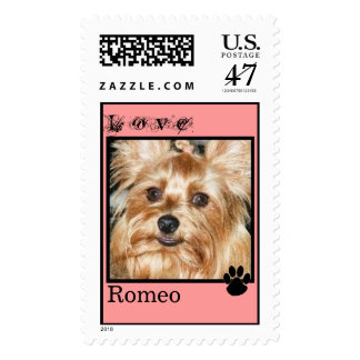 CUTE YORKIES ( MY NAME IS ROMEO) LOVE STAMP