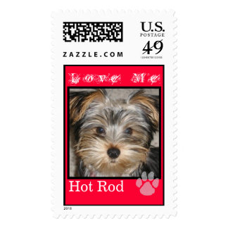CUTE YORKIES ( MY NAME'S HOT ROD) LOVE STAMP (RED)