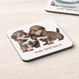 Cute Yorkshire Puppies Beverage Coaster
