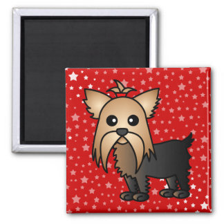 Cute Yorkshire Terrier Cartoon 2 Inch Square Magnet