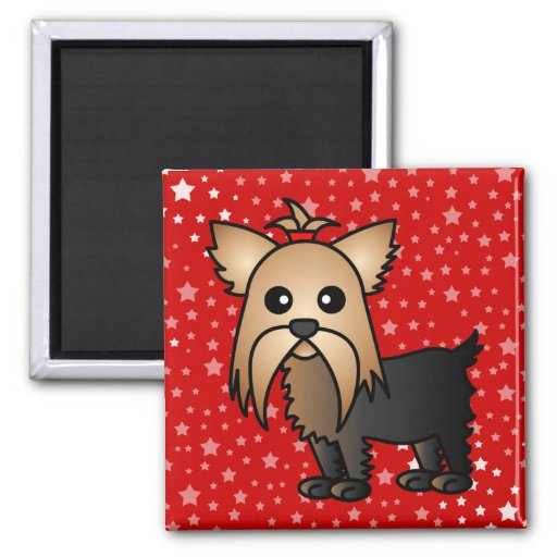 Cute Yorkshire Terrier Cartoon Magnets