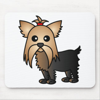 Cute Yorkshire Terrier Cartoon Mouse Pad
