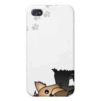 Cute Yorkshire Terrier Cartoon Paw s iPhone 4/4S Covers