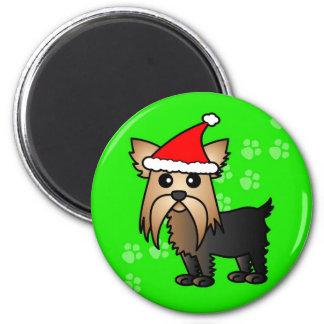 Cute Yorkshire Terrier Cartoon Santa Hat Magnet