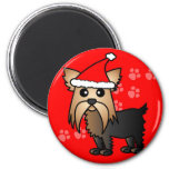 Cute Yorkshire Terrier Cartoon Santa Hat Magnets