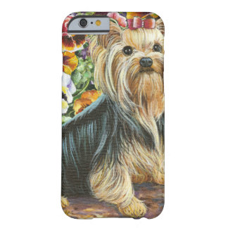 Cute Yorkshire Terrier in Pansy Garden Barely There iPhone 6 Case