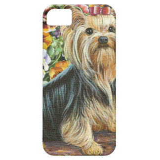 Cute Yorkshire Terrier in Pansy Garden iPhone 5 Case