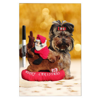 Cute Yorkshire Terrier Merry Christmas Dry Erase Board