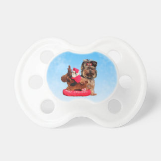 Cute Yorkshire Terrier Merry Christmas Pacifier