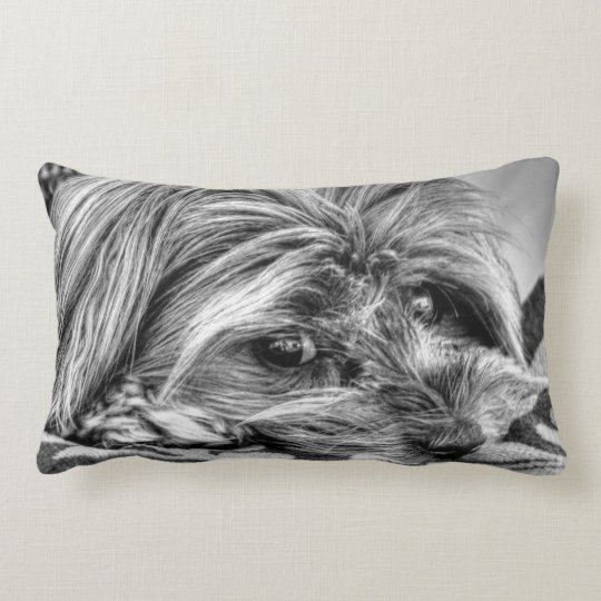 Cute yorkshire terrier yorkie black and white art lumbar pillow