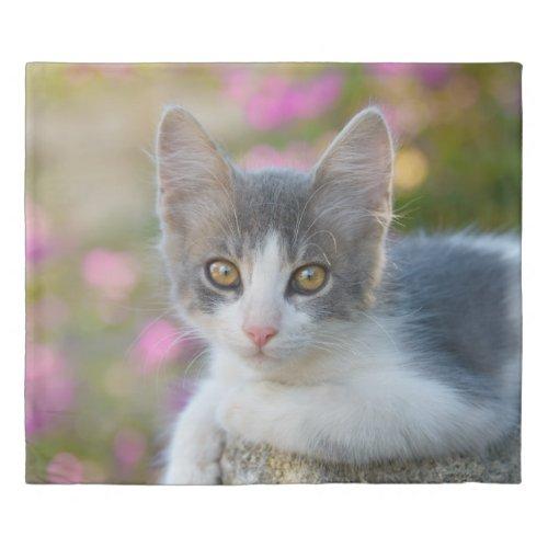 Cute Young Bicolor Cat Kitten Portrait Photo on Duvet Cover