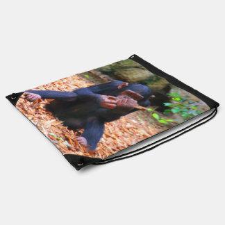 cute young chimpanzee drawstring backpack