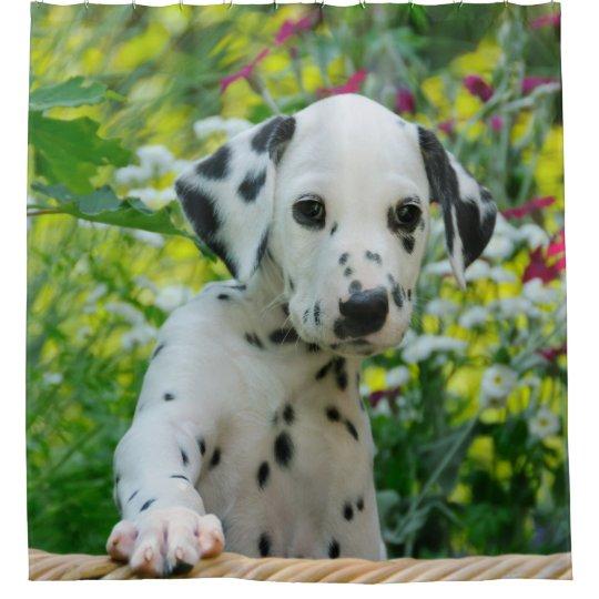 Cute Young Dalmatian Dog Puppy Tub Shower Curtain