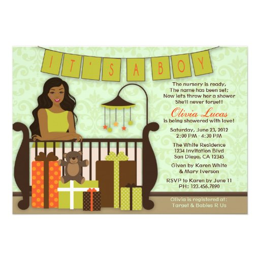 Cute Young Mom in Nursery Baby Shower Invite