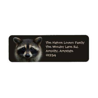 Cute Young Raccoon Face Mask Stare Label
