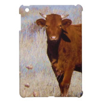 Cute Young Red Cow Cattle with Horns Western iPad Mini Cover