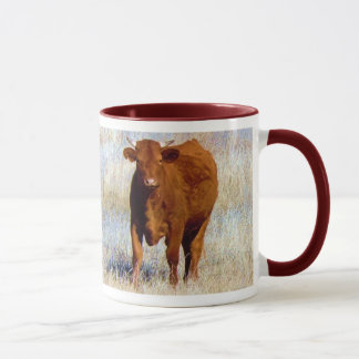Cute Young Red Cow Cattle with Horns Western Mug
