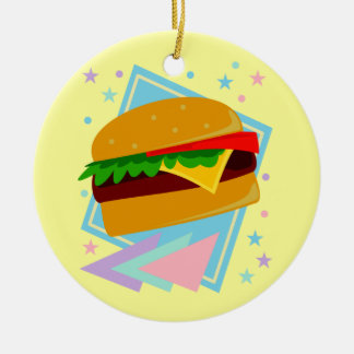 Cute Yummy Burger Double-Sided Ceramic Round Christmas Ornament