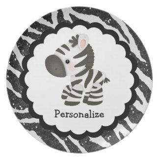 Cute Zebra and Glitter Animal Print Plate