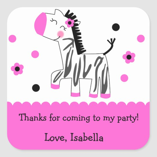 Cute Zebra Birthday Party Favor sticker labels