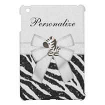 Cute Zebra & Black Glitter Animal Print Cover For The iPad Mini
