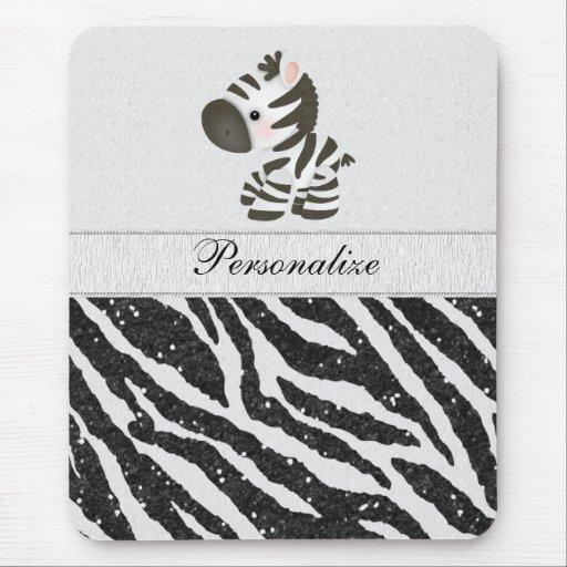 Cute Zebra & Black Printed Glitter Animal Print Mouse Pad