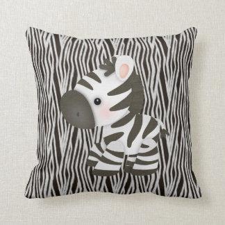 Cute Zebra & Black & White Animal Print Pillow