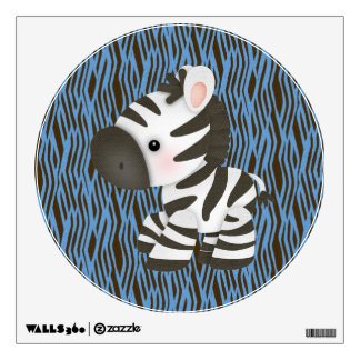 Cute Zebra & Blue Animal Print Wall Decal