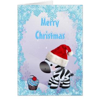 Cute Zebra & Blue Cupcake Christmas Card