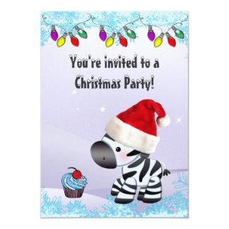 Cute Zebra & Blue Cupcake Christmas Party Card