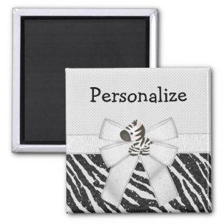 Cute Zebra, Bow & Glitter Animal Print Magnet